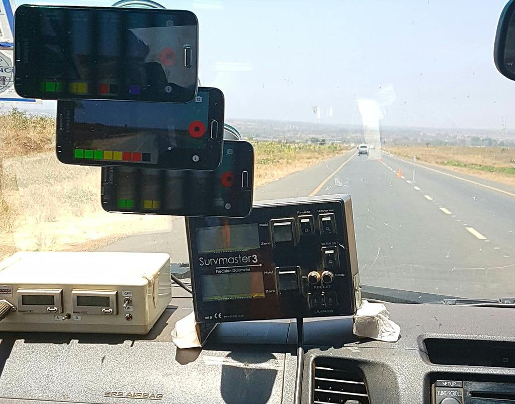Roadroid app being calibrated against the Bump Integrator currently used in Malawi. Credit: Roadroid AB.