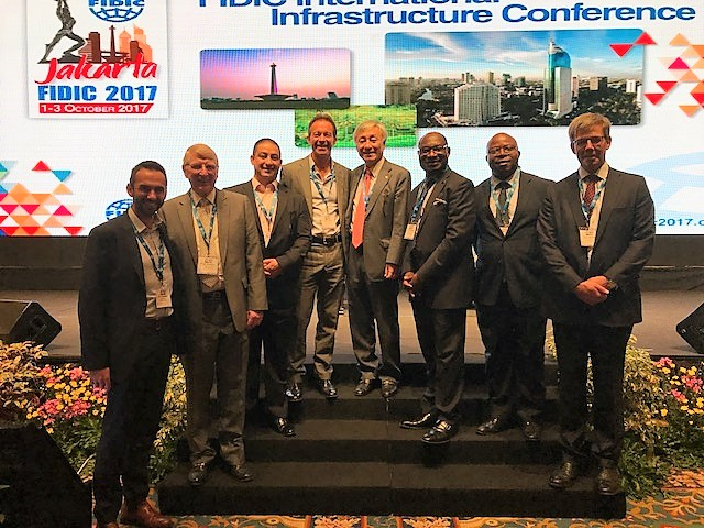 From left to right: Director at MLM Group Ben Freedman, Professor Roger Flanagan, IMC Asia Director Suraj Rana, IMC MD Gavin English, FIDIC outgoing president Jae-Wan Lee, ACE CEO Dr. Nelson Ogunshakin, Roughton MD Bernard Obika, KPMG Chairman, Global Infrastructure, James Stewart.