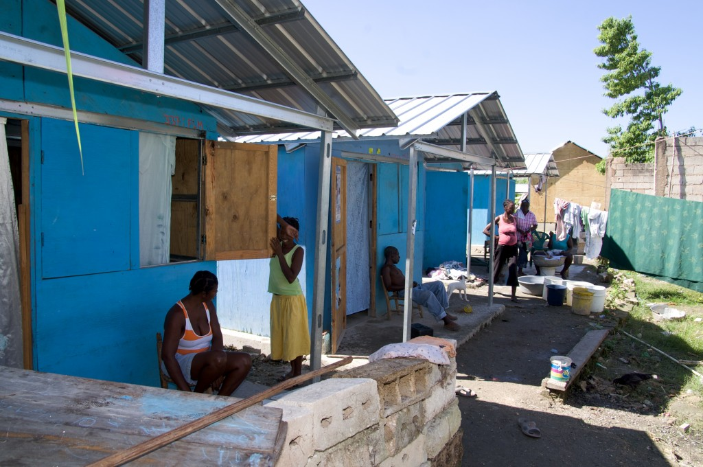 Transitional shelters built in the aftermath of the 2010 Haiti earthquake. Photo courtesy of PWRDF via Flickr under a Creative Commons Licence.