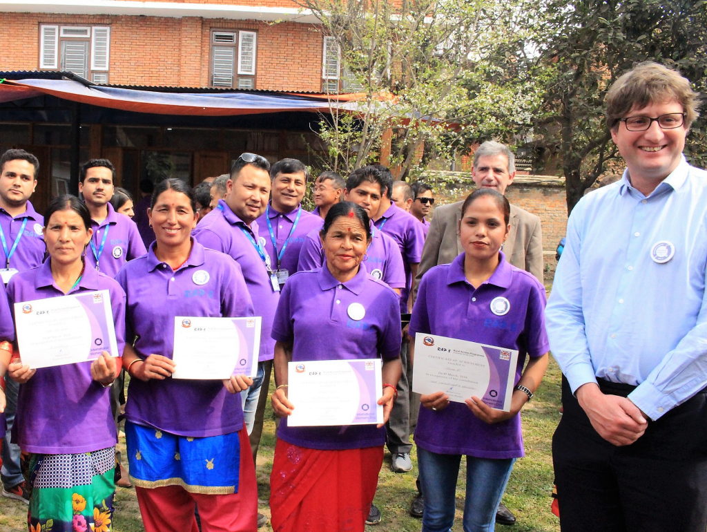 Head of DFID Nepal Dr Rurik Marsden with some of the winners at the award ceremony in Kathmandu on 8 March 2018.