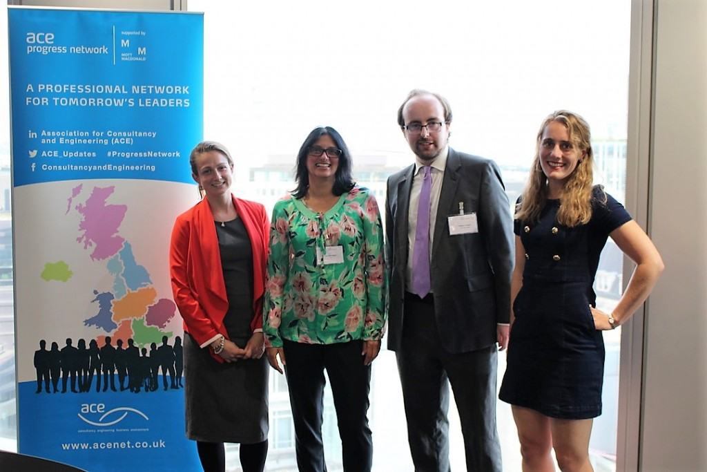 The panel of speakers at the discussion organised by the ACE Progress Network on 12 June included Rebecca Wooding, DFID, Matthew Lambert, Mott MacDonald and Phillipa Jefferis, IMC Worldwide.